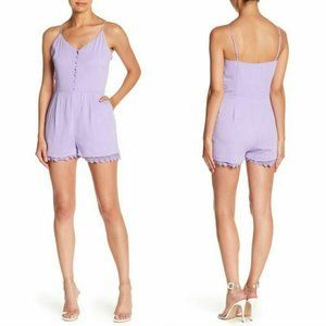 Naked Zebra Lavender Button Down Romper Floral Lac